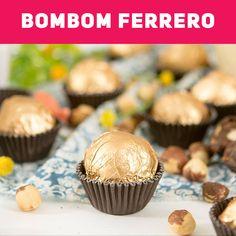 Ideal para a páscoa, dia dos namorados ou para dar de presente. Ferrero Rocher, Cake Boss, Italian Recipes, Oreo, Muffin, Low Carb, Candy, Breakfast, Simple