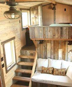 Wood House Design, Tiny House Design, Home Inside Design, Tiny House Storage, Best Tiny House, House Inside, Tiny House Living, Tiny House Stairs, Living Room