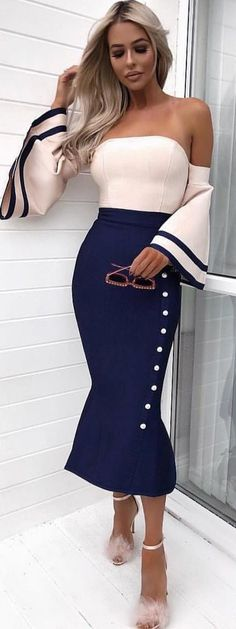 #winter #outfits white and black off-shoulder long-sleeve bodycon dress