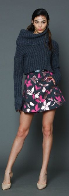 Gaetano Navarra Pre-Fall 2015 black sweater floral skirt. Casual women outfit apparel style