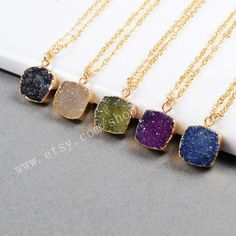 3&5Pcs Gold Plated Square Rainbow Agate Druzy Geode Necklace Gold Filled Gemstone Necklace Natural Druzy Necklace Drusy Geode Jewelry G0288 by Druzyworld on Etsy
