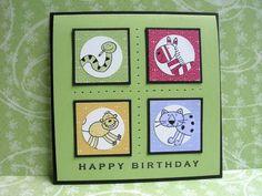 Birthday Quartet using Stampin Up Zoofari retired stamp set.