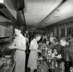 The Hot Shoppe diner in Washington, D.C. 1941. Perhaps we should consider these getups for the new uniforms at the blue plate? Maybe not...