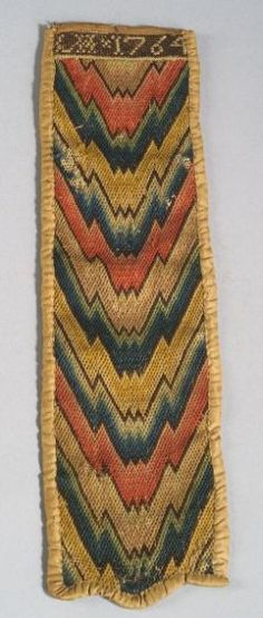 Needle case, probably Philadelphia, 1764, silk lining and bound edges, 13 3/4 x 3 3/4 inches. Sold by Skinner, Inc.