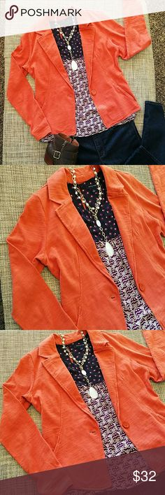 """Caslon blazer Casual knit jacket, more of a puce burn orange, not as vibrant as my camera shows.?? The fabric color has this """"faded"""" distressed look to it, I wore it once but didn't feel quite comfortable of the fitting on my body type, so better let it go. It hasn't even been wash since I literally had it on for just a couple of hours.  Lenght 23.5"""" approx, bust 18"""", waist 16"""". Cotton fabric with just a tad of stretch Caslon Jackets & Coats"""
