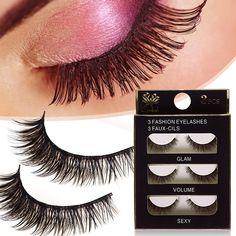 Beauty Women Makeup 3 Pairs Stunning Handmade 3D Natural Cross False Eyelashes Eye Lashes Set Party -- BuyinCoins.com