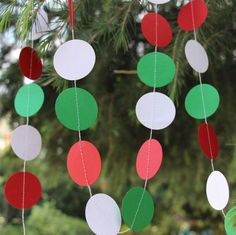 Christmas Paper Garland, Red Green and White Paper Circle Garland, Holiday Party Decorations, Polka Dot Circle Banner, Xmas Tree Ornament Mexican Party Decorations, Birthday Decorations, Christmas Decorations, Christmas Paper, Christmas Crafts For Kids, Italian Themed Parties, Italian Party, Christmas Birthday Party, Birthday Parties