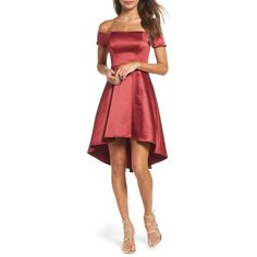 Women's Sequin Hearts Off The Shoulder Satin Dress (555 DKK) ❤ liked on Polyvore featuring dresses, merlot, low dress, fit flare dress, off shoulder cocktail dress, red fit and flare dress and red satin dress