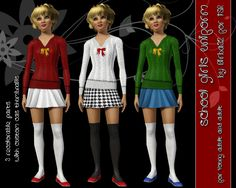 A dress inspired to school uniform. Socks are not included (by The Sims 3 base game). From Young adult to Elder.