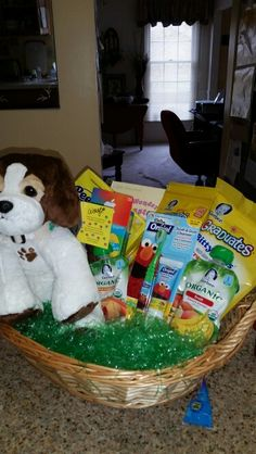 Easter basket for 10 month old easter pinterest easter baskets baby easter basket idea for our 7 month old granddaughter comes with baby food negle Images