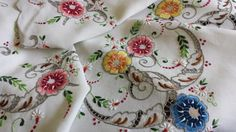 Magnificent Vintage Embroidered Flowers Linen Tablecloth http://www.nostalgiqueboutique.co.uk/store#!/Magnificent-Vintage-Embroidered-Flowers-Linen-Tablecloth/p/52431094/category=13417907