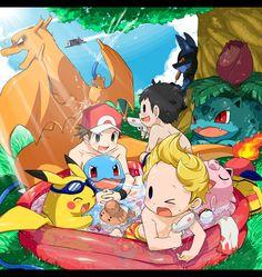 Super Smash Bros.: Pikachu, Ness, Lucas, Squirtle, Jigglypuff, Charizard, Lucario, Ivysaur, Fire (Pokémon) (by アゲモン/Agemono, Pixiv Id 237196)