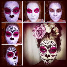 A quick & easy tutorial on how to do a Sugar Skull face paint from Stephanie Makeup Artist Loading. A quick & easy tutorial on how to do a Sugar Skull face paint from Stephanie Makeup Artist Halloween Sugar Skull, Theme Halloween, Easy Halloween, Vintage Halloween, Vintage Witch, Sugar Skull Costume, Halloween Face, Halloween Costumes, Maquillaje Halloween 2018
