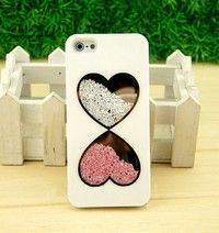 Cute Fashion Bling Love Heart Diamond Crystal Case Cover for iPhone 4 4G 4S 5 5G