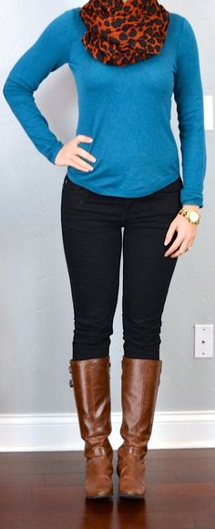 outfit post: teal sweater, animal print scarf, black skinny jeans