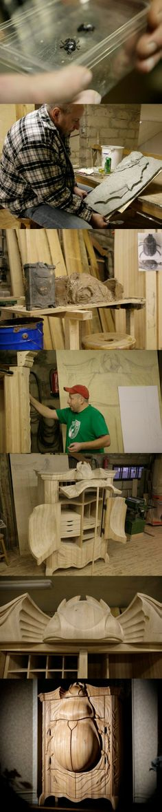 Absolutely amazing art work! Wood wardarobe BUG. This art furniture has been made by Janis Straupe and is his biggest and most complicated work till now. We love it!