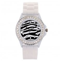 Stylish Unisex Stitching PU Leather Strap Quartz Wrist Watch-Black + White