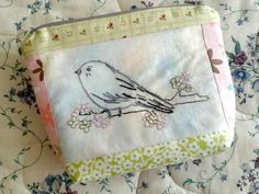 (10) Name: 'Embroidery : Chickadee Bird Hand Embroidery Zip Pouch
