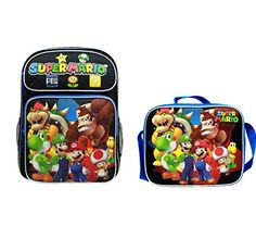 NEW  Super Mario Nintendo Large 16 Backpack School Bag  Lunch Box Set >>> This is an Amazon Affiliate link. Check this awesome product by going to the link at the image. Best Kids Backpacks, School Backpacks, Super Mario Nintendo, Lunch Box Set, School Bags, Vacation Ideas, Travel Style, Image Link, Amazon