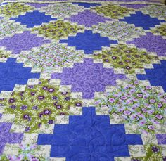 Queen Bed Quilt in assorted floral fabric of by WarmandCozyQuilts, $595.00