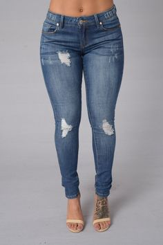 Oh My God Becky Jeans - Medium Blue $27.99 #Destroyed #LowRise #5PocketDesign