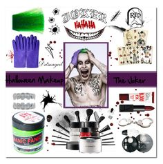 """Halloween Makeup : The Joker"" by vampirella24 ❤ liked on Polyvore featuring beauty, Manic Panic, NARS Cosmetics, Bourjois, Hermès, Smith & Wesson and Venom"