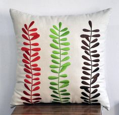 """Three Colors Leaves - Throw Pillow Cover - 18"""" x 18"""" Oatmeal Linen Pillow Cover with Botanical Embroidery"""