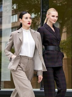 Suits You, Suits For Women, Clothes For Women, Elie Tahari, Fall Looks, Work Wear, Chic, Plaid Jacket, Jackets