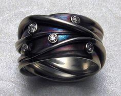 James Morton Ring - Diamonds set on white gold with iridescent patinas