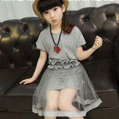 Girls Clothes Children Clothing Fashion Solid Color T-Shirt+Petal Belt+Net Yarn Skirt 3Pcs Suit Kids Clothes Girls Clothing Sets