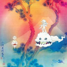 Kids See Ghost by Kanye West & Kid Cudi - Album artwork by Takashi Murakami. Murakami is known for the Superflat postmodern art movement which combines high art and anime. Here, Murakami takes a traditional Japanese landscape watercolour and flips it into a psychedelic scene. #kanyewest #kidcudi