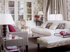 Living Room Designs: Feminine Florals    Gray and white floral patterns feel fresh and sophisticated when paired with deep magenta accents.