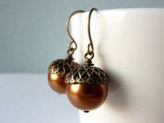 Acorn Drop Earrings, Glass Pearl Earrings, Copper Bead Earrings by KittyBallistic for $15.00