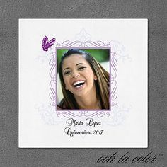 """Butterfly Frame - Quince Napkins Personalized A flourish border with a fluttering butterfly showcases your special day on this ooh la color™ napkin.  Dimensions: 4 3/4"""" x 4 3/4"""" Beverage Napkin Dimensions: 6 1/2"""" x 6 1/2"""" Luncheon Napkin• Price Includes: Printed napkin • Production Time: 2 Working Days • Photo(s) will be printed as submitted"""