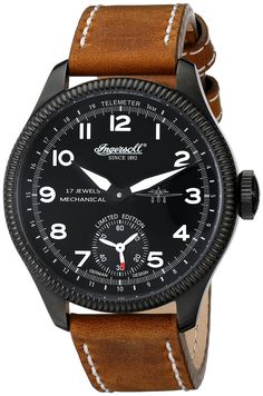 "Ingersoll Men's IN3105BBKW ""Chinook"" Mechanical Hand-Wind Watch with Brown Leather Band"