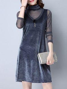 Shop Midi Dresses - Gray Long Sleeve Velvet A-line Midi Dress online. Discover unique designers fashion at StyleWe.com.