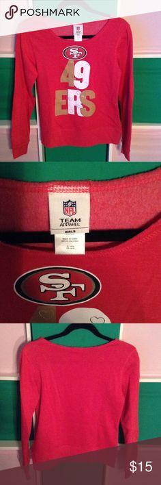 Juniors San Francisco 49ers off the shoulder top Cute slouchy 49er top Jackets & Coats