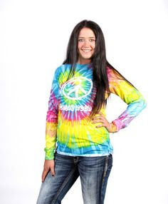 A rainbow of colors in this great looking long sleeve tie dye. preshrunk cotton makes this choice really comfortable. Tie Dye Long Sleeve, Weed, Compliments, Rainbow, How To Make, Cotton, Fashion, Rain Bow, Moda