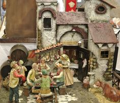 Miniature - Old Apulian inn Miniature reproduction of a typical inn of Puglia of the past, made with ancient materials: wood, straw dummy, clothes in paper soaked in flour glue, clay. #artigianato #cartapesta #papier-mache #craftobject #oggettistica #argilla #clay #legno #wood #terracotta #earthenware #paglia #straw #madeinitaly