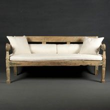 Indonesian teak bench with traces of green lacker.   Width: 175cm  Depth: 76cm  Height: 82cm