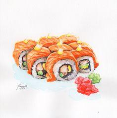 Sushi | Ramen Kuroda | Watercolor Art | Micaines Art