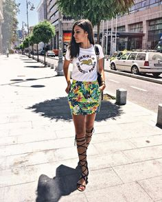 #summer #fashion Summer Shirt and Floral Skirt Look