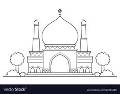 Mosque cartoon vector image on VectorStock Fruit Coloring Pages, Coloring Pages For Kids, Islamic Art Pattern, Pattern Art, Cartoon Download, Gold Models, Arabic Art, Book Projects, Applique Patterns