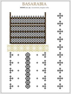 Semne Cusute: iie din BASARABIA - model (29) Embroidery Motifs, Learn Embroidery, Embroidery Designs, Beading Patterns, Knitting Patterns, Crochet Hook Set, Embroidery Techniques, Cross Stitch Patterns, Moldova