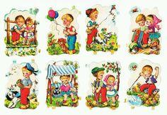 Láminas de cromos troquelados antiguos- Niños jugando