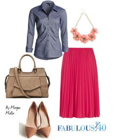 Try this look- Pleated skirt and chambray skirt. Find out why it works after 40.