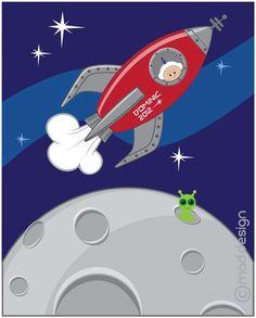 Rocket Art Print Wall Art Kids Room Decor Space Nursery Art 8x10 Digital Illustration Personalized. $22.00, via Etsy.