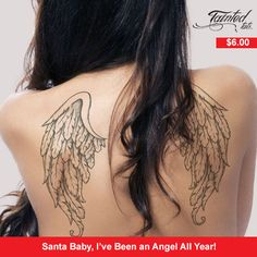 Heaven must be missing an angel. Our ethereal wing temporary tattoos are the perfect accessory to an open back dress (or just your birthday suit).  Each package comes with 2 tattoo sheets  Made in 'Murica
