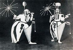 "Triadic Ballet, 3 dancers: 1st, lemon yellow stage, comedic burlesque. 2nd, pink stage, festival/ceremonial. 3rd, all black, mystical/fantastical. The costumes deliberately limit movement due to weight, forms, & masks, as walking architectural structures with playful, sharp, & clumsy movements. Schlemmer took advantage of the new technologies of the era, ""the scientific apparatus of glass and metal, the artificial members that are used in surgery, the fantastic military and diving uniforms."""