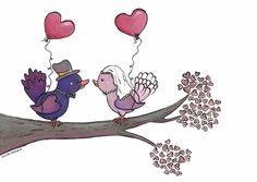 Trouwkaarten - Trouwkaart vogeltjes met ballonnen